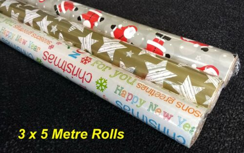 15M Total 5 Metres x 70cm Christmas Gift Wrapping Paper 3 Rolls
