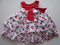 Lilybird $54 Retro Cherry Pink & Red Ruffle Tiered Dress Set Sz 3-6 Months