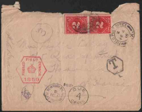 Canada 1916 Military cover in Europe to Hawaii USA Dues