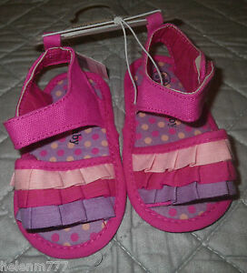 Baby-Baby-GIrl-Pink-Purple-Polka-Dot-Frill-Soft-Sandals-6-9-Months-Old