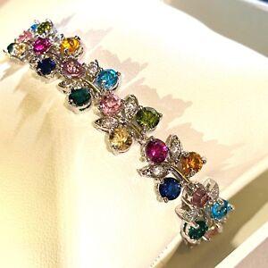 GB-Multi-Colour-Gems-7-034-x-0-5-034-Bracelet-Silver-white-gold-gf-BOXED-Plum-UK