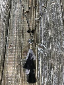 Black-and-Silver-Tassel-Necklace-and-Earring-Set
