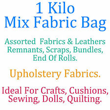 1 Kilo Bag Assorted Upholstery Fabric Remnants Scrap End Roll Bundle Craft Dolls