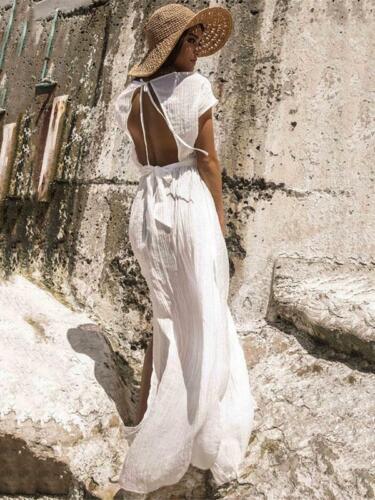 Lungo Morbido Abito Vestito 5152 Bohoo Amplio Bohemia Maxi Scollato Bianco Hx6pqw