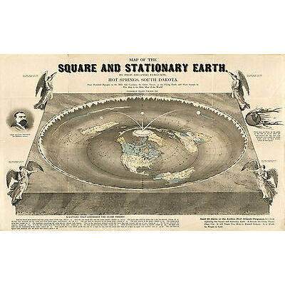 1893 Map Square and Stationary Earth Orlando Ferguson Flat Earth Wall Art Poster