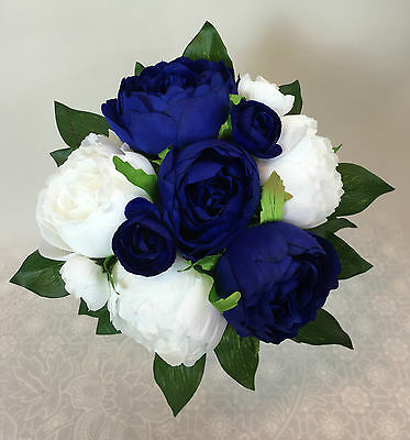 Dark blue/ White Peony Flowers Posy Artificial Silk Flower  Wedding Bouquet
