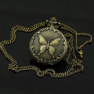 Bronze-Montre-A-Gousset-Bronze-Deco-Papillon-Chaine-Mode-Femme-Neuf-Q3Y5