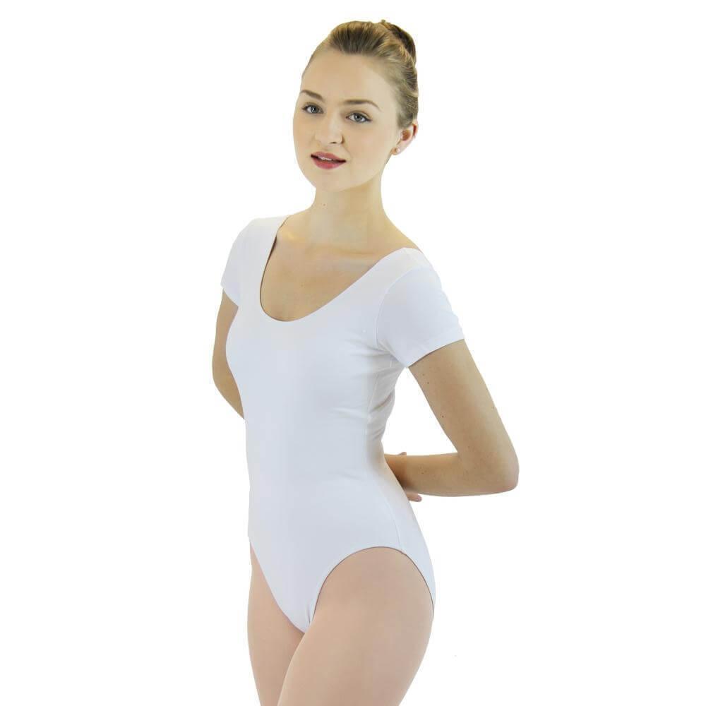 4be62c89f1e Danzcue Adult Cotton Short Sleeve Ballet Cut Leotard