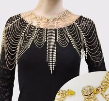 Crystal Lace Harness Necklace Shoulder Chain Epaulette Bridal Jewelry Gold Tone