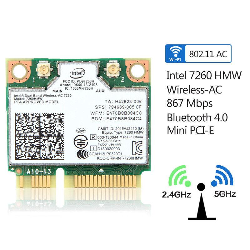Intel Wireless-AC 7260HMW Mini PCI-E Network Card Dual Band WiFi Bluetooth 4.0