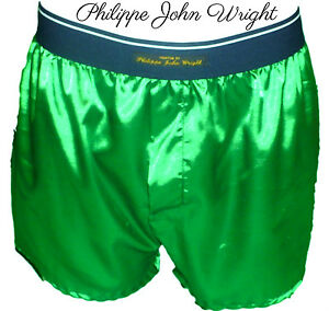 81e28293d208 EMERALD GREEN SHINY SATIN CLASSIC DESIGN BOXER SHORTS by PJW Made in ...