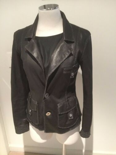 Alexander Blazer us8 Stretch Black 12 aust Leather Medium Jacket rRBqr1IC