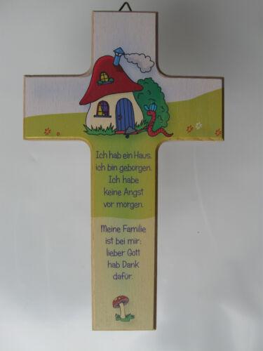 """5152 Sinnspruch Kinderkreuz Taufkreuz Holz  /""""Ich habe ein Haus../""""  Nr"""