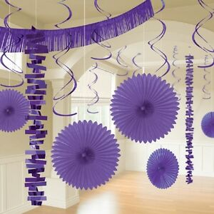 Details about 12 Purple Hanging Paper & Foil Party Decoration Lavender  Lilac Wedding Party