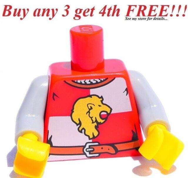 Klocki i akcesoria LEGO LEGO NEW CASTLE KING KINGDOMS KNIGHT MINIFIGURE TORSO WITH LION PATTERN