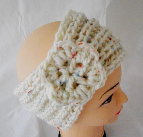 EL BURRO Stirnband Haarband Ohrwärmer mit Blume beige  Mütze Strickmütze