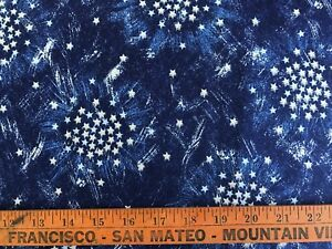 "Tan Stars on Navy Quilt  Cotton 26/"" Long Fabric Traditions,P900 Vintage 1990"