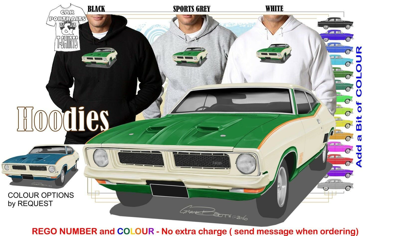 73-76 XB GOSS FALCON COUPE HOODIE ILLUSTRATED CLASSIC RETRO MUSCLE SPORTS CAR