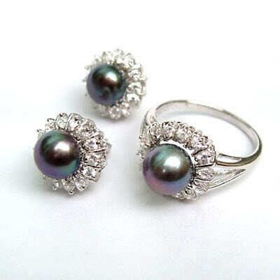 Noblest Silver Natural black akoya pearl Ring + Earrings AAA Grade