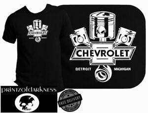 MENS BLACK T Shirt  VINTAGE CHEVROLET  Logo Print  Free Postage