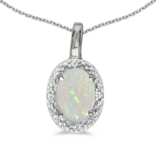 """Details about  /10k White Gold Oval Opal And Diamond Pendant with 16/"""" Chain"""