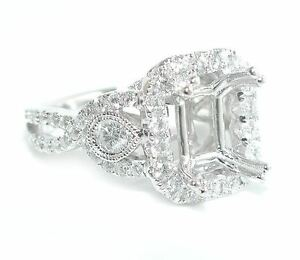 1-25-CT-GORGEOUS-Rectangular-Halo-Woven-Shank-DIAMOND-Ring-Setting-14K-WG