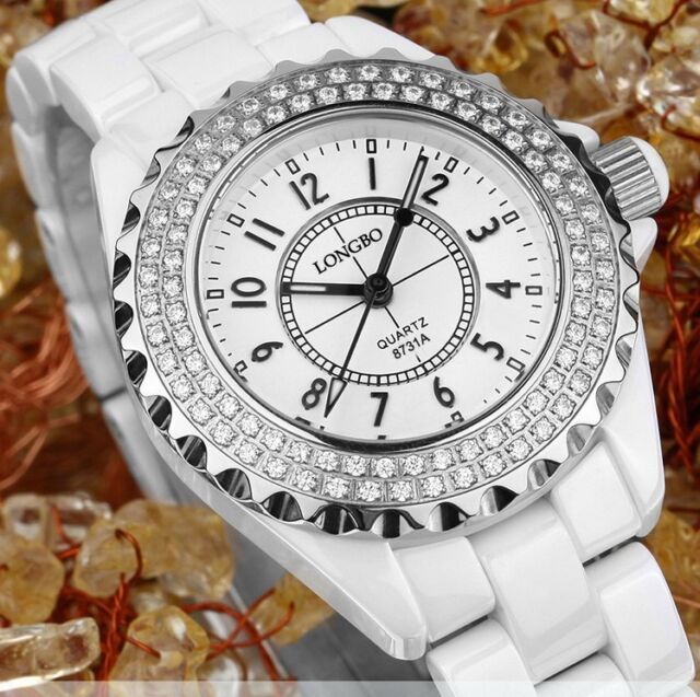 New White Ceramic Fashion Elegant Wrist Watch Diamonds Rose Gold Luxury Watches