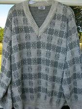 Paul Smith Wool Acrylic Blend Gray Geometric Design V-Neck Sweater XL Sz. 54 EUC
