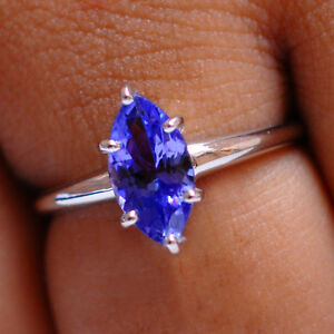 Natural-Blue-Tanzanite-Real-14KT-White-Gold-1-40CT-Marquise-Shape-Wedding-Ring