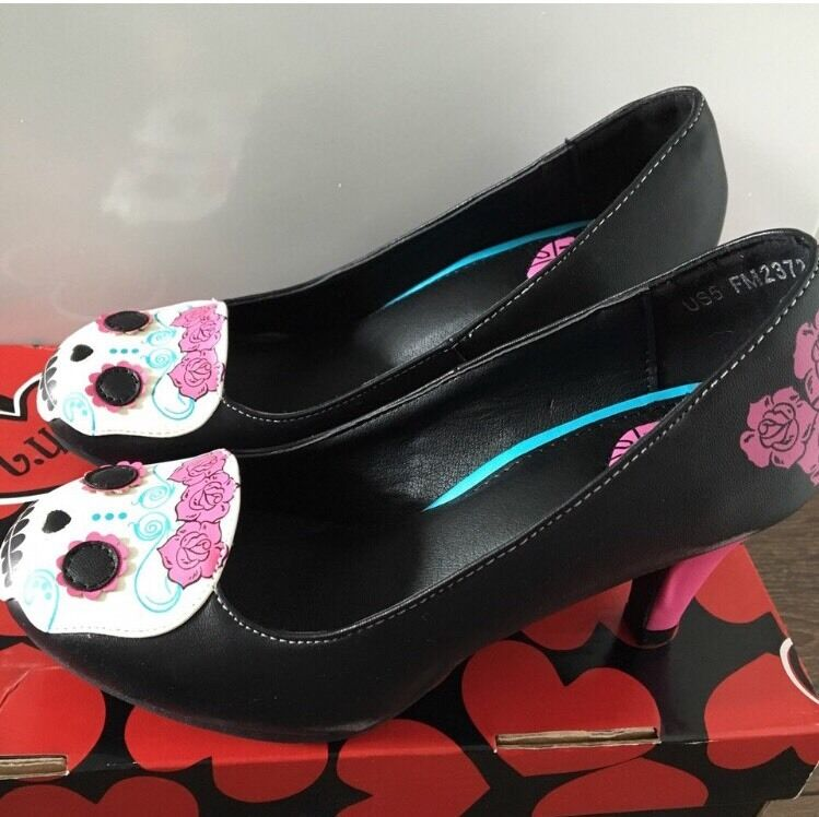 TUK T.U.K Antipop day Of The Dead Skull Heels BN Emo/goth/alt NEVER WORN 3 Emo/goth/alt BN ebdd35