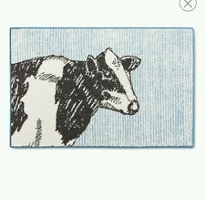 Lot of (4) Threshold Cow Kitchen Rug Blue 20 x 34