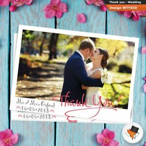 Premium POSTCARD Personalised Wedding Thank You Cards Includes Envs + Photo 10