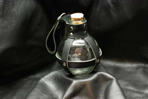 Glass Potion Bottle w// Black Leather Center Strap Renaissance Pirate LARP