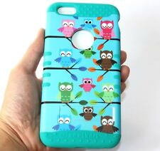 For iPhone 6+ / 6S+ Plus -HARD&SOFT RUBBER HYBRID ARMOR CASE TURQUOISE GREEN OWL