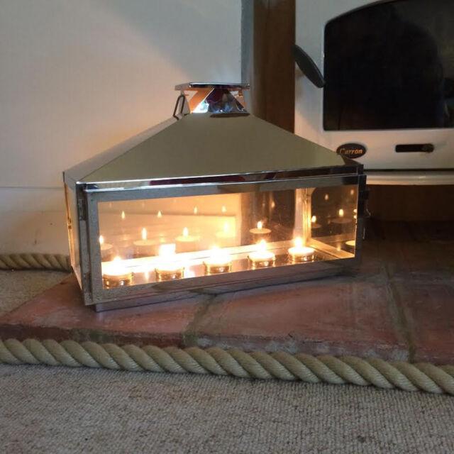 Candle Lantern Tea Light Holder Silver Hampton Home And Garden Lantern