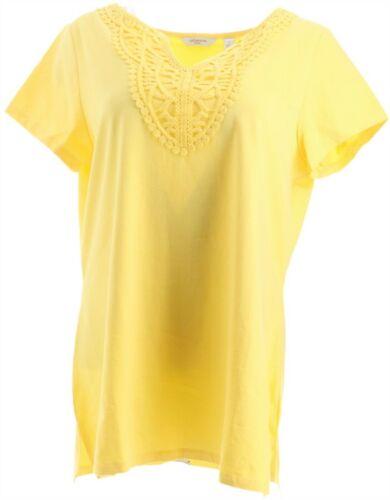 Liz Claiborne NY Lace Trim Split Neck Tee Light Citron XL NEW A262962