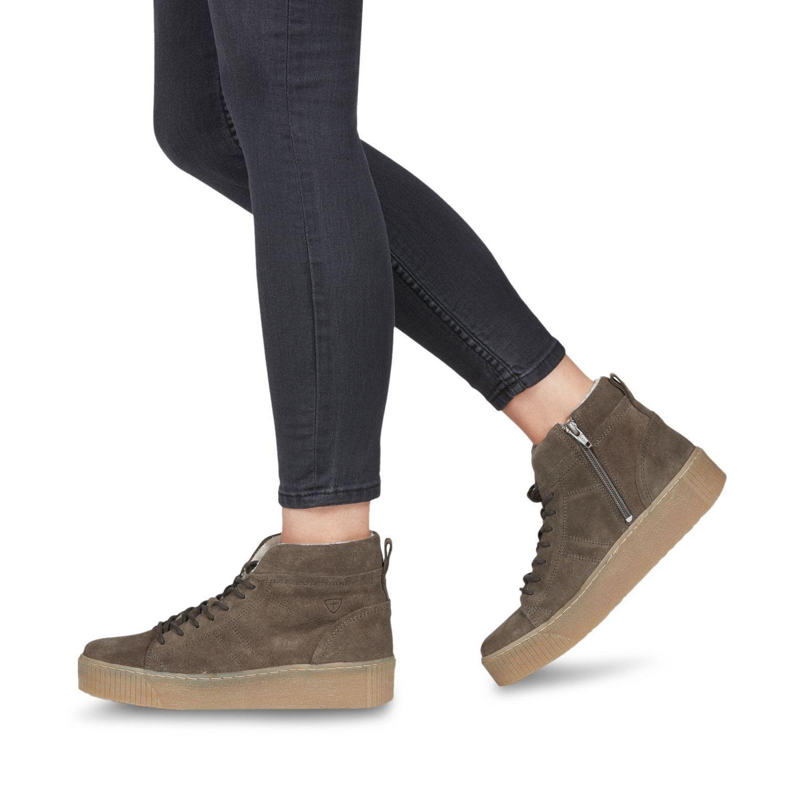 Tamaris Schuhe Turnschuhe Stiefel Stiefel Pieces olive grün warm gefüttert Leder  | Modernes Design