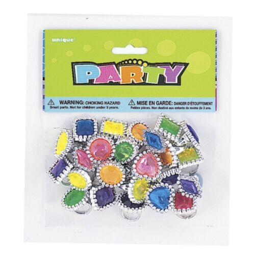 24 Gem Rings Plastic Girls princess party bag fillers dress up fun toys