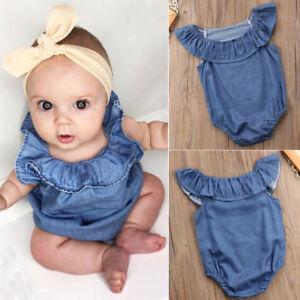 99ef2493cd1 Image is loading Newborn-Baby-Girl-Ruffle-Jumpsuit-Bodysuit-Denim-Romper-