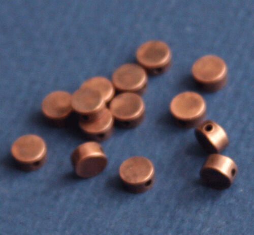 25 Antiqued Copper Flat Round Beads 5x2.5mm