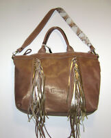 Cavalcanti Italy Brown Leather Fringe Convertible Shoulder Bag