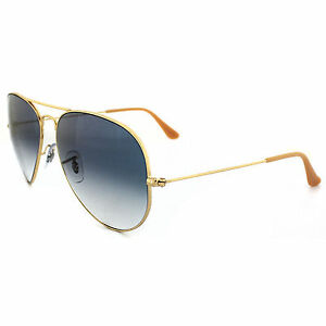 8a56cf4774 Ray Ban RB3025 Classic Aviator 001 3F Blue Gradient Lens 62mm Gold  Sunglasses