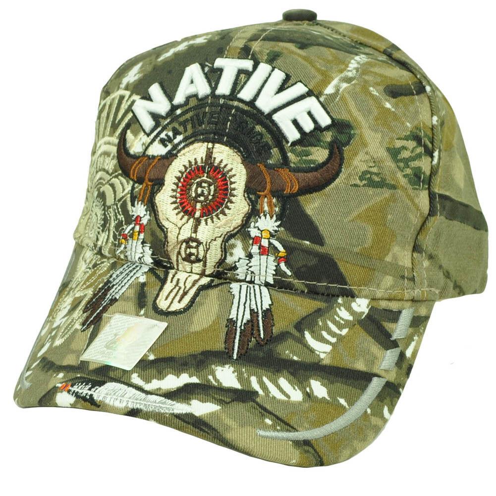 Indianer American Pride Buffalo Totenkopf Schatten Feder Tarnfarbe Hut Ca