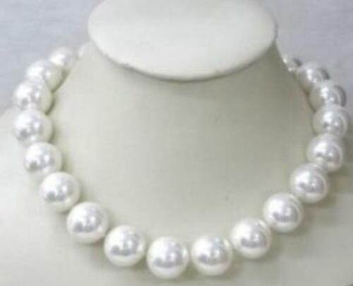 Natural Beautiful 10mm White south sea shell pearl necklace 20/'/' AAA