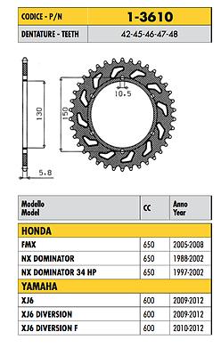 1-3610 - Corona Passo 520 Honda Nx Dominator 650 2000 2001 2002