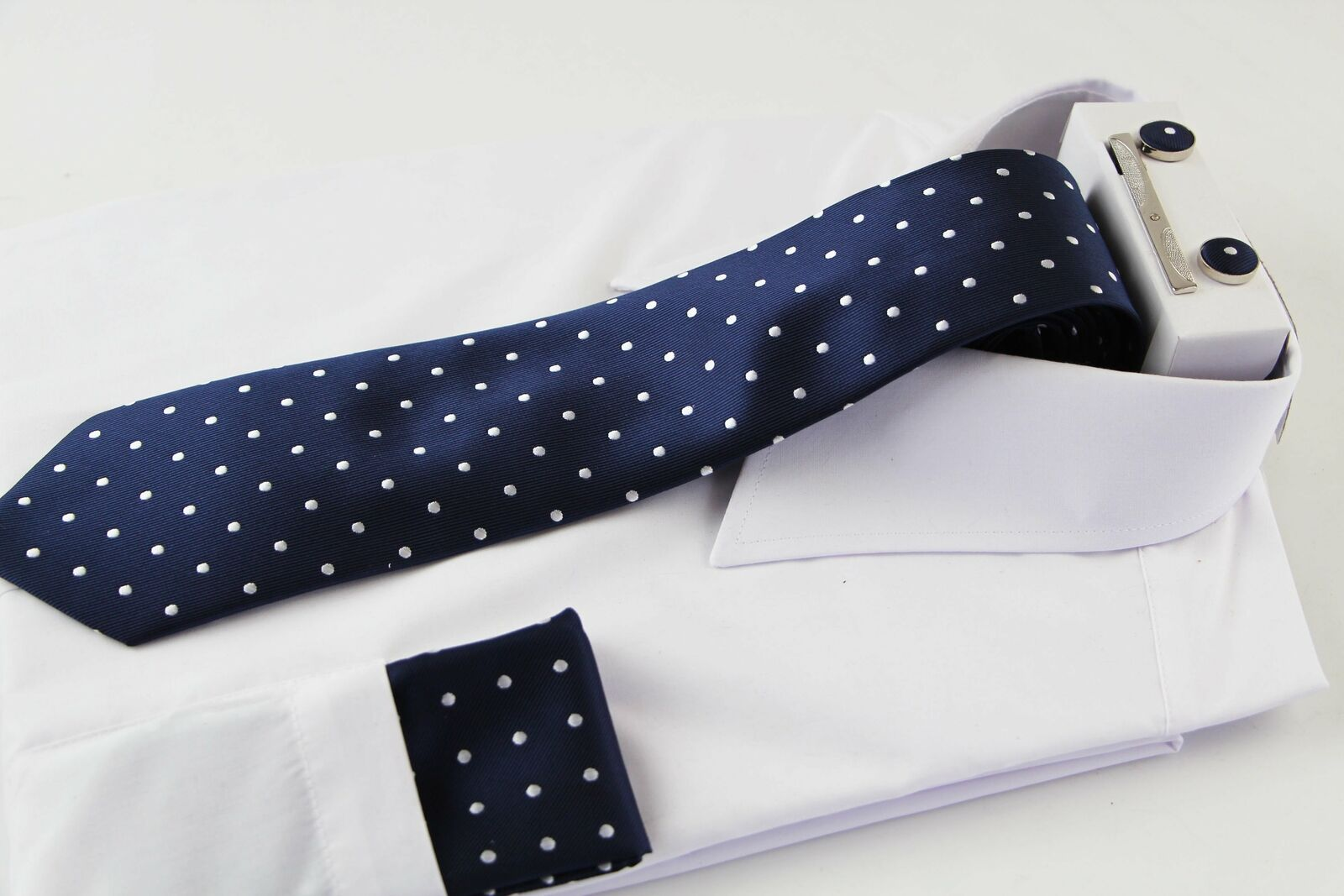Mens Navy With White Polka Dot Matching Neck Tie, Pocket Square, Cuff Links And