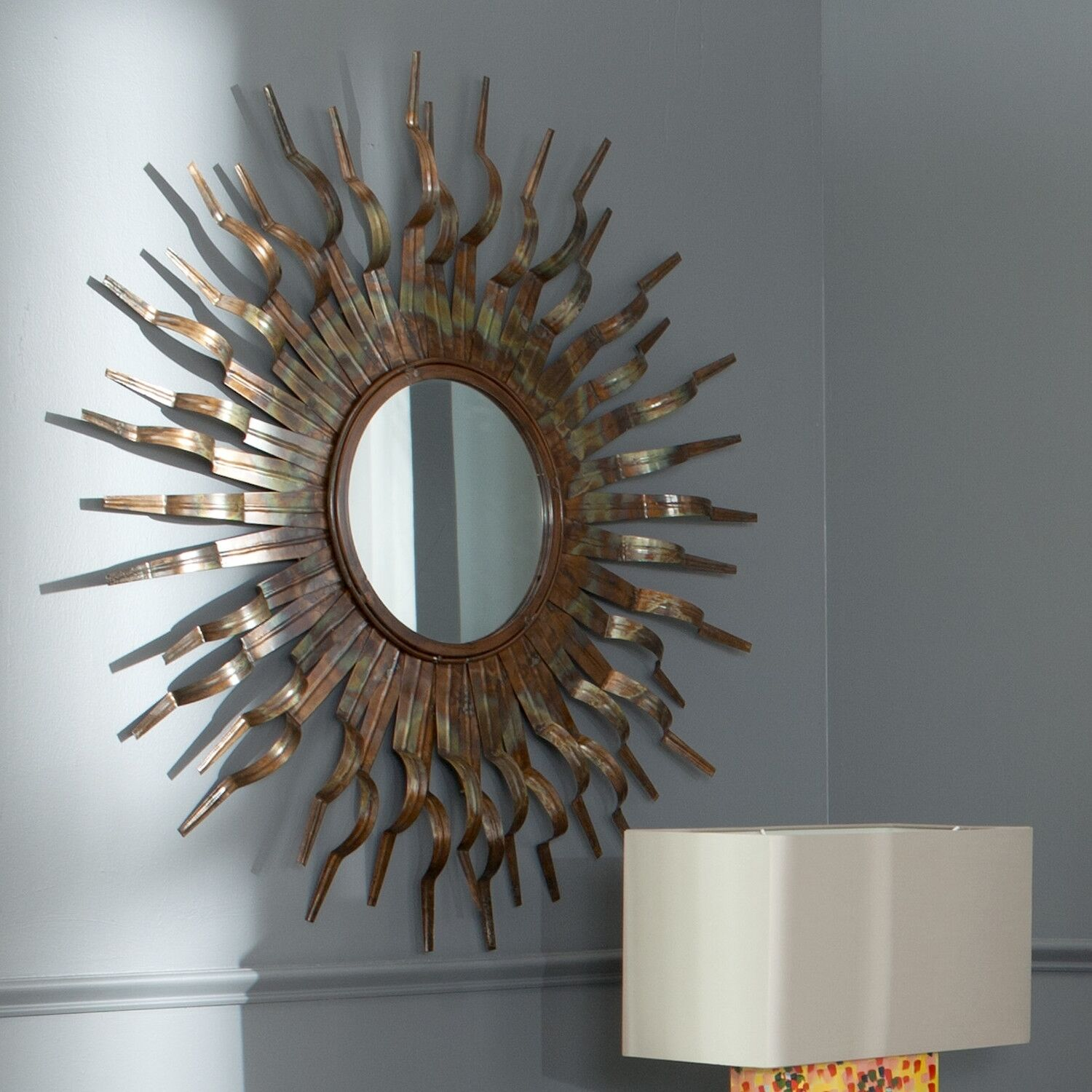 Sun wall mirror round gold modern sunburst accent for Modern accent decor