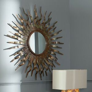 Details About Sun Wall Mirror Round Gold Modern Sunburst Accent Contemporary Wood Decor Metal