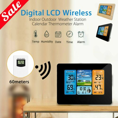 Digital LCD Indoor /& Outdoor Weather Station Clock Calendar Thermometer Wireless