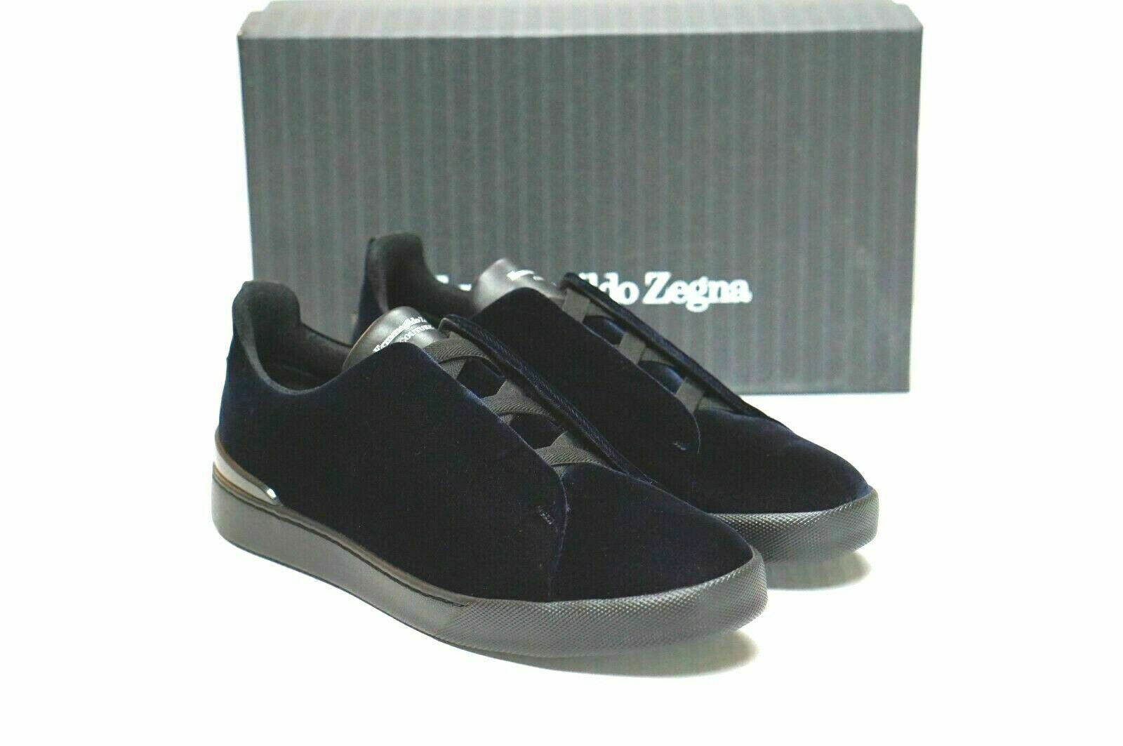 ERMENEGILDO ZEGNA Velours Bleu Triple Stitch Slip-On Baskets Taille 12 11 EU NEW